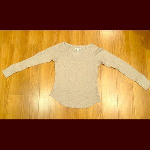 American Eagle Outfitters Beige Gold Thermal Top S